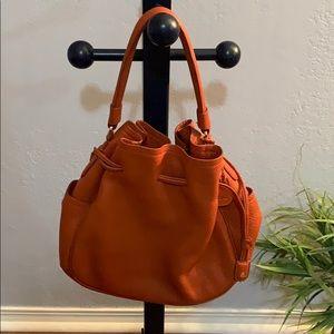 Orange shoulder bag, pebbled leather